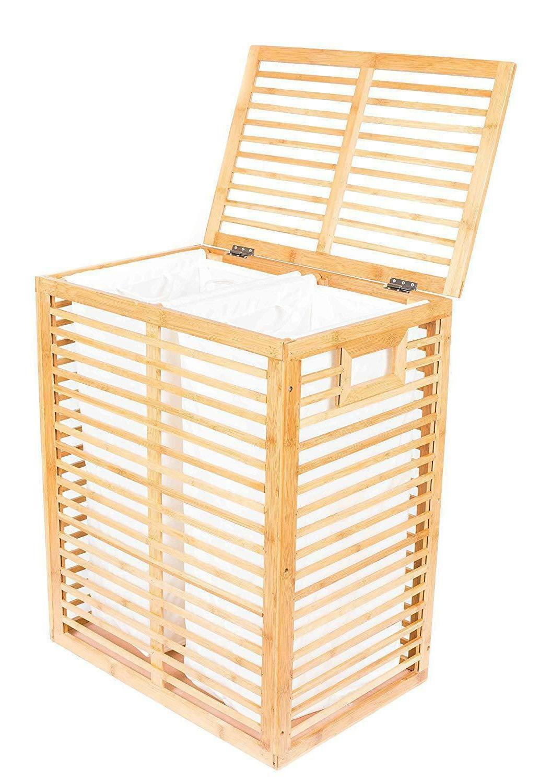 bamboo zen divided laundry hamper