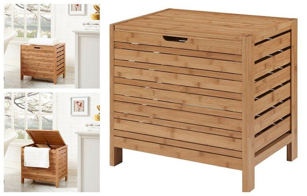 Wood Laundry Hamper Bathroom Storage Cabinet Bedroom Clothes