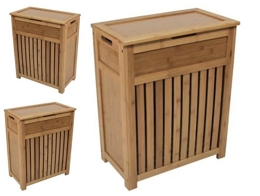 Wood Laundry Hamper Bathroom Storage Cabinet Bedroom Clothes
