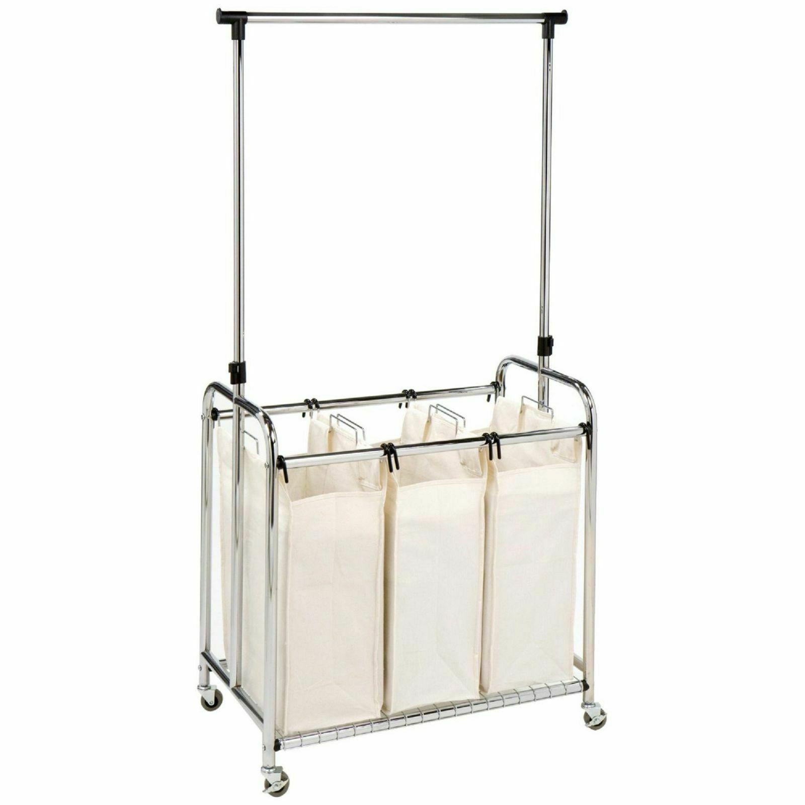 classics 3 bag laundry sorter hamper cart
