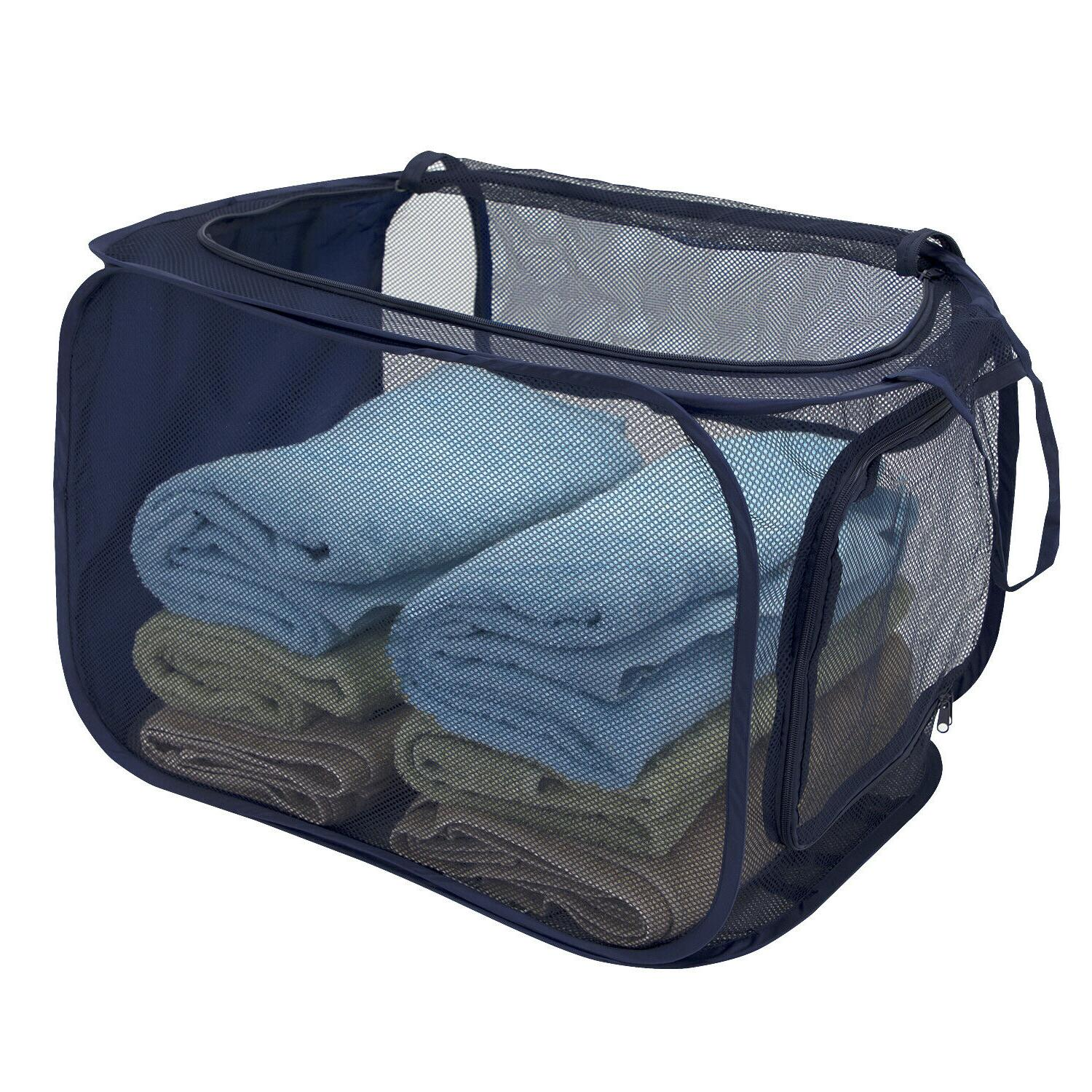 Collapsible 2-Way Mesh Laundry Clothes Hamper One Basket*USA