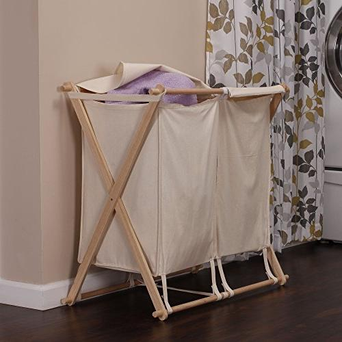 Household Double X-Frame Laundry Hamper Sorter with Fold