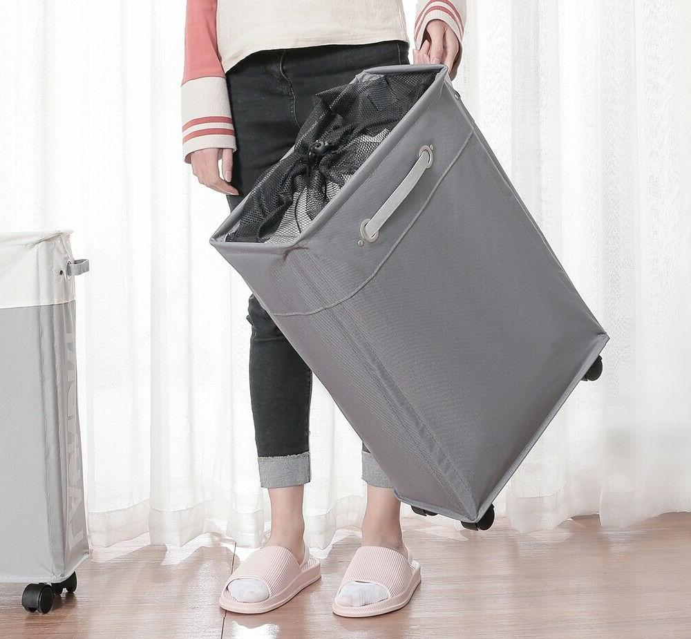 Collapsible Laundry oxford slim roller foldable hamper
