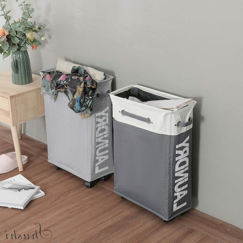Collapsible Laundry Basket bag oxford roller hamper