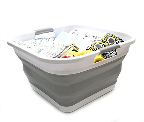 SAMMART Basket Square Tub/Basket - Foldable - - Saving Hamper