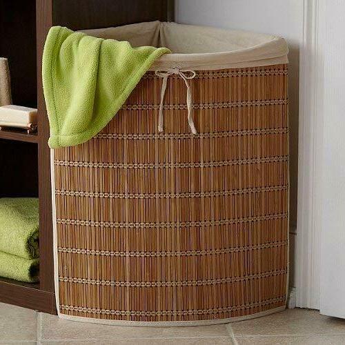 Wicker Corner Clothes Hamper Canvas Liner Tie Laundry Basket