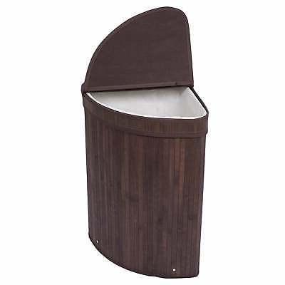 Corner Bamboo Laundry Hamper Basket Wicker Clothes Storage S