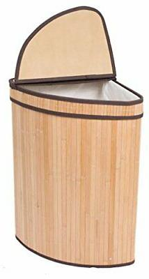 BIRDROCK HOME Corner Laundry Hamper with Lid and Cloth Liner