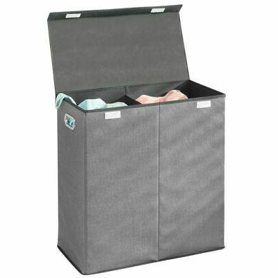 divided laundry hamper basket with lid chrome