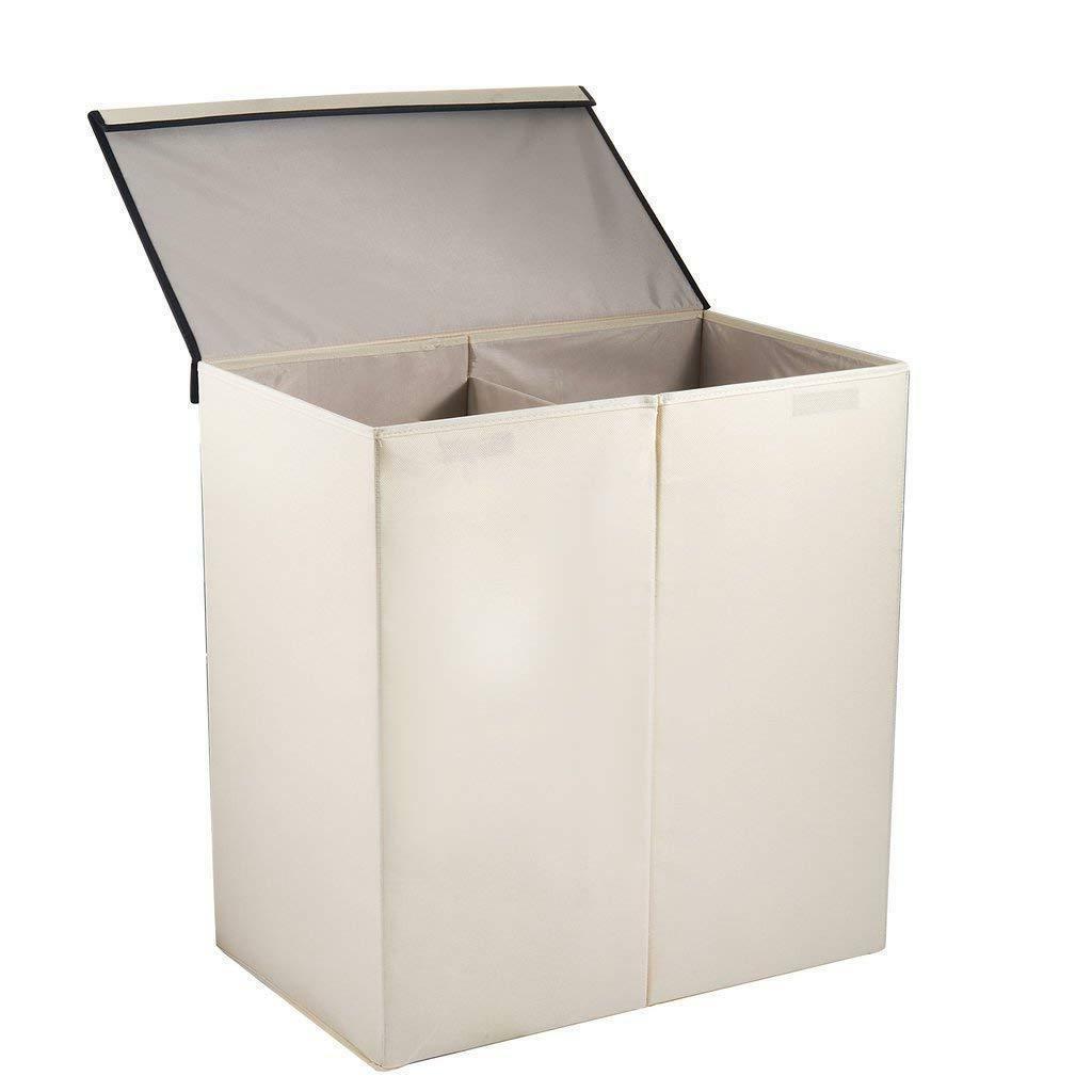 Double Laundry Hamper Basket Sorter Clothes Foldable Bag Bin Organizer