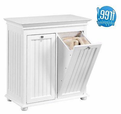 Double Laundry Hamper Tilt Out Beadboard White Wood Cabinet