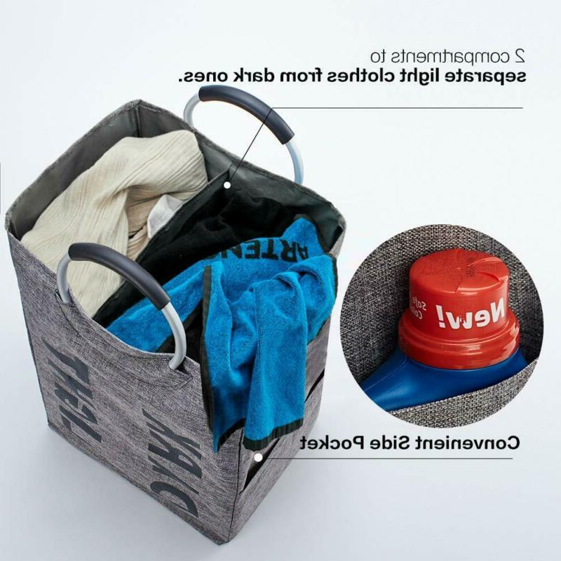 Homest Double Hamper With Handle, Laundry Basket