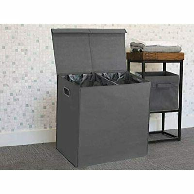 Double Laundry Hamper With Lid And Dark Home Kitchen