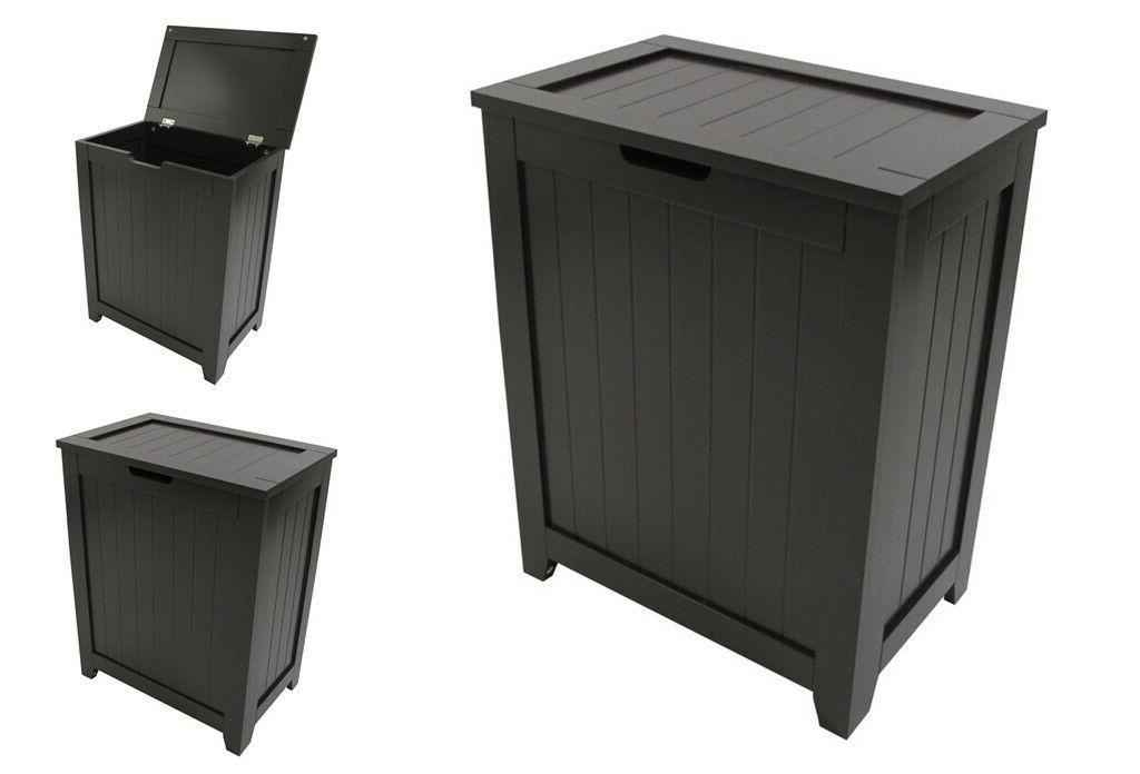 Wood Laundry Hamper Flip Lid Bathroom Storage Cabinet Clothe