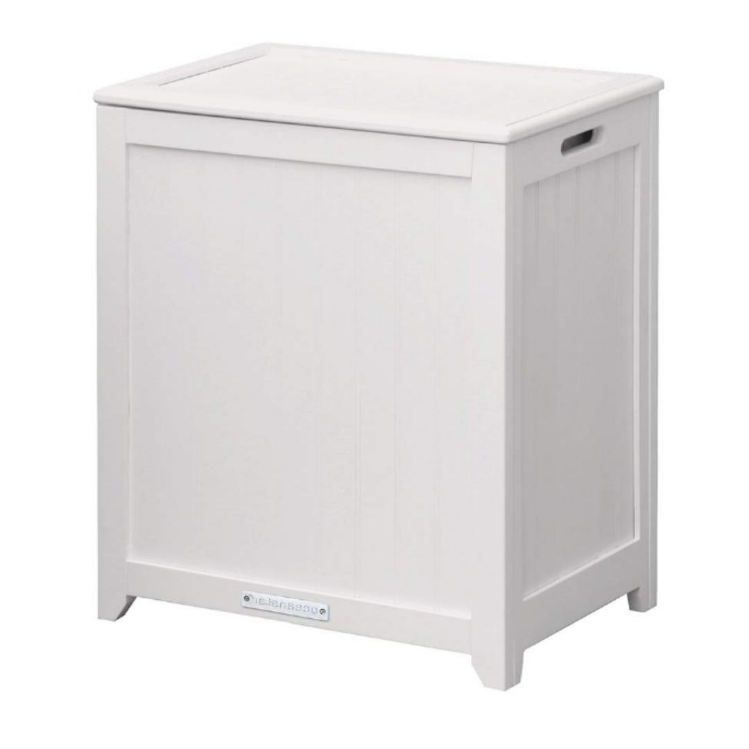 Wood Laundry Hamper Flip Lid Spare Room Cabinet Kitchen Bask