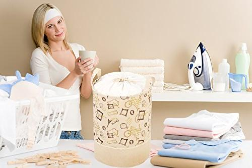 Laundry – French Themed Hamper, Jute Tote Perfect Laundry, Laundromats, Drawstring Bag, 13