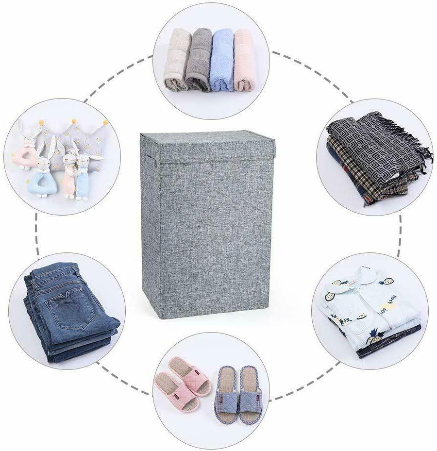 Foldable Washing Laundry Hamper Clothes Storage Save Space Lid