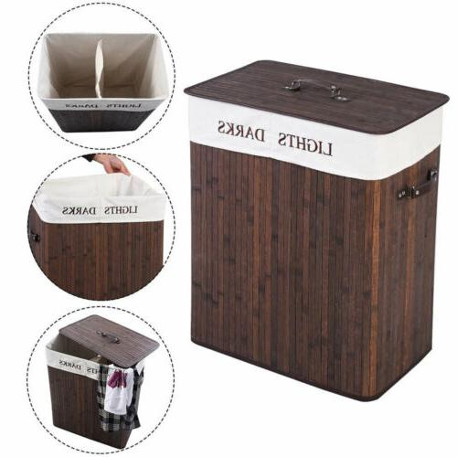 Bamboo Laundry Hamper Basket Dirty Clothes Storage Sorter Or
