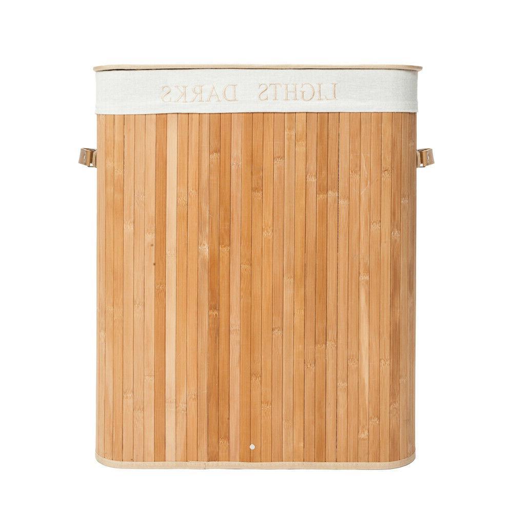 Folding Bamboo Basket Clothes