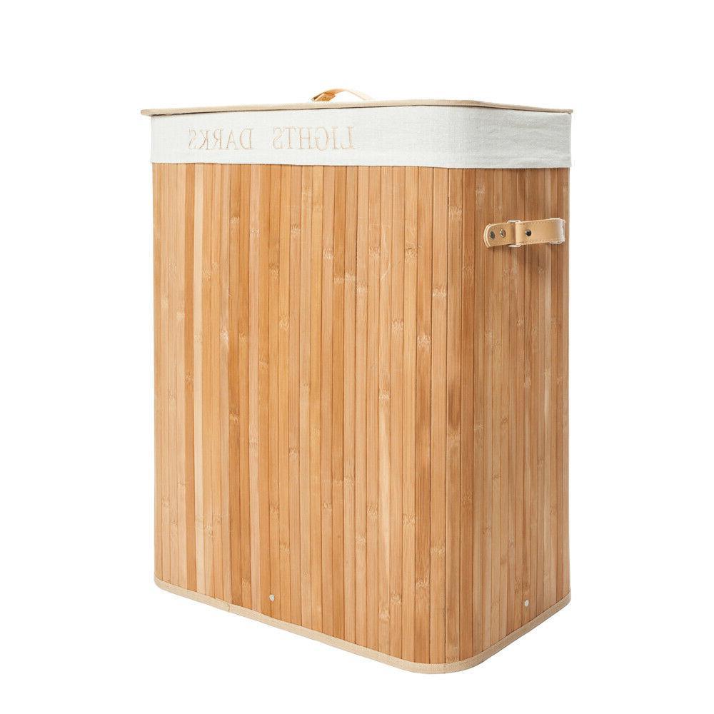 Folding Bamboo Basket Bin Clothes Washing Wood