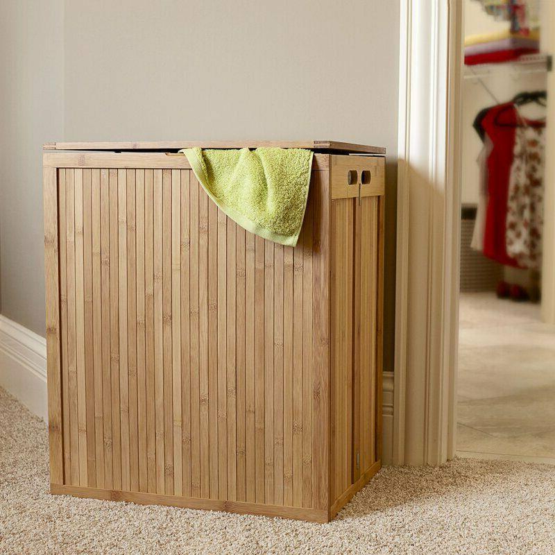 Wood Hamper Bathroom Cabinet Basket