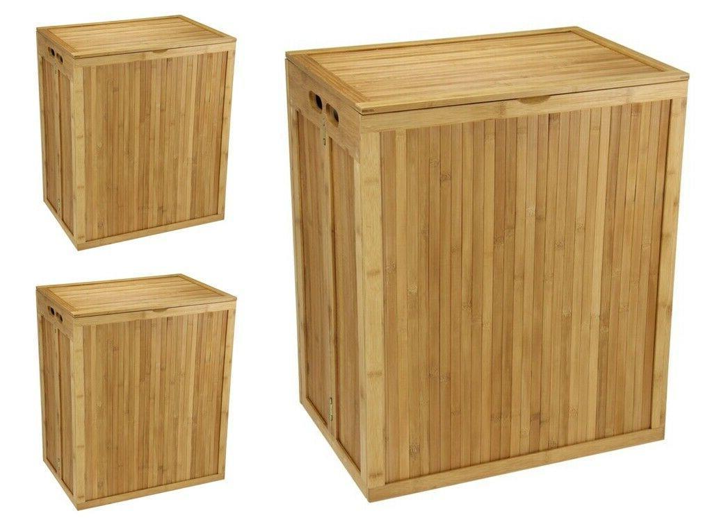 Wood Laundry Hamper Folding Bathroom Storage Cabinet Clothes