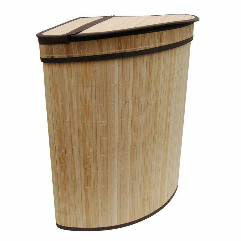 Wood Laundry Hamper Corner Storage Basket