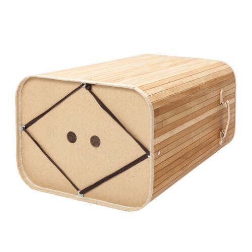 Square Bamboo Hamper Basket Cloth Bin W/