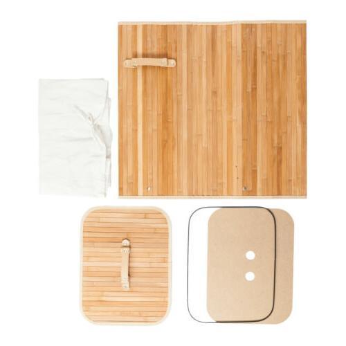 Square Bamboo Hamper Basket Washing Bin Natural