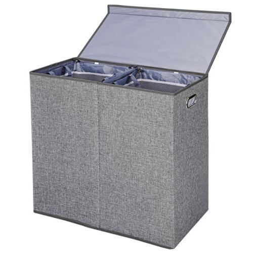 Foldable Double Laundry Hamper Clothes Basket with Lid and R