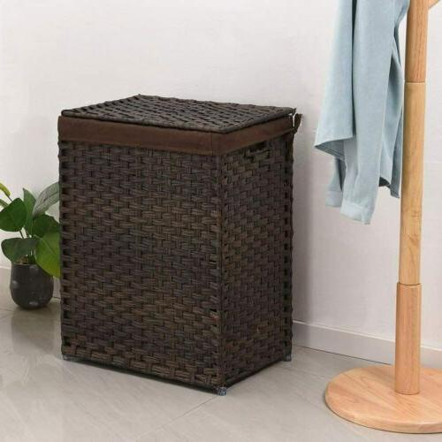 Handwoven Laundry Basket Rattan Laundry Hamper Liner Bag