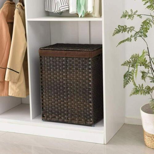 Handwoven Laundry Basket Foldable Rattan Hamper Liner