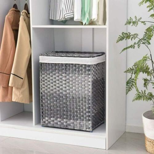 handwoven laundry basket foldable rattan laundry hamper