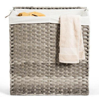 Handwoven Laundry Hamper For Home W/Removable Bag Synthetic