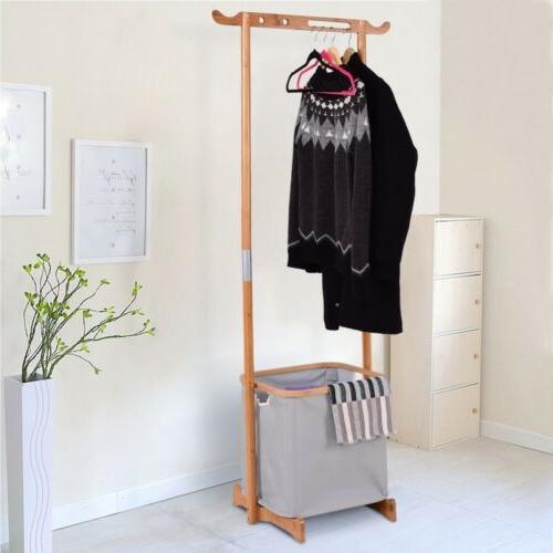 Home Bamboo Laundry Hamper Garment Hanger Basket Organizer