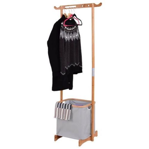 home room bamboo laundry hamper garment hanger