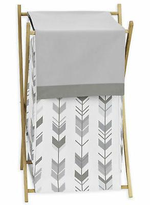 Sweet Jojo Kid Baby Clothes Laundry Hamper for Grey White Wo