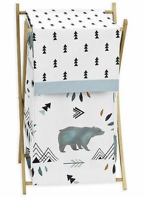 Sweet Jojo Kids Baby Clothes Laundry Hamper for Blue Bear Mo