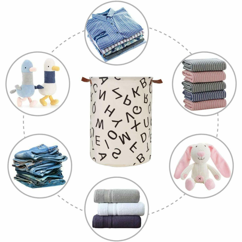 Laundry Basket Bag Cotton Washing Clothes Hamper Toys