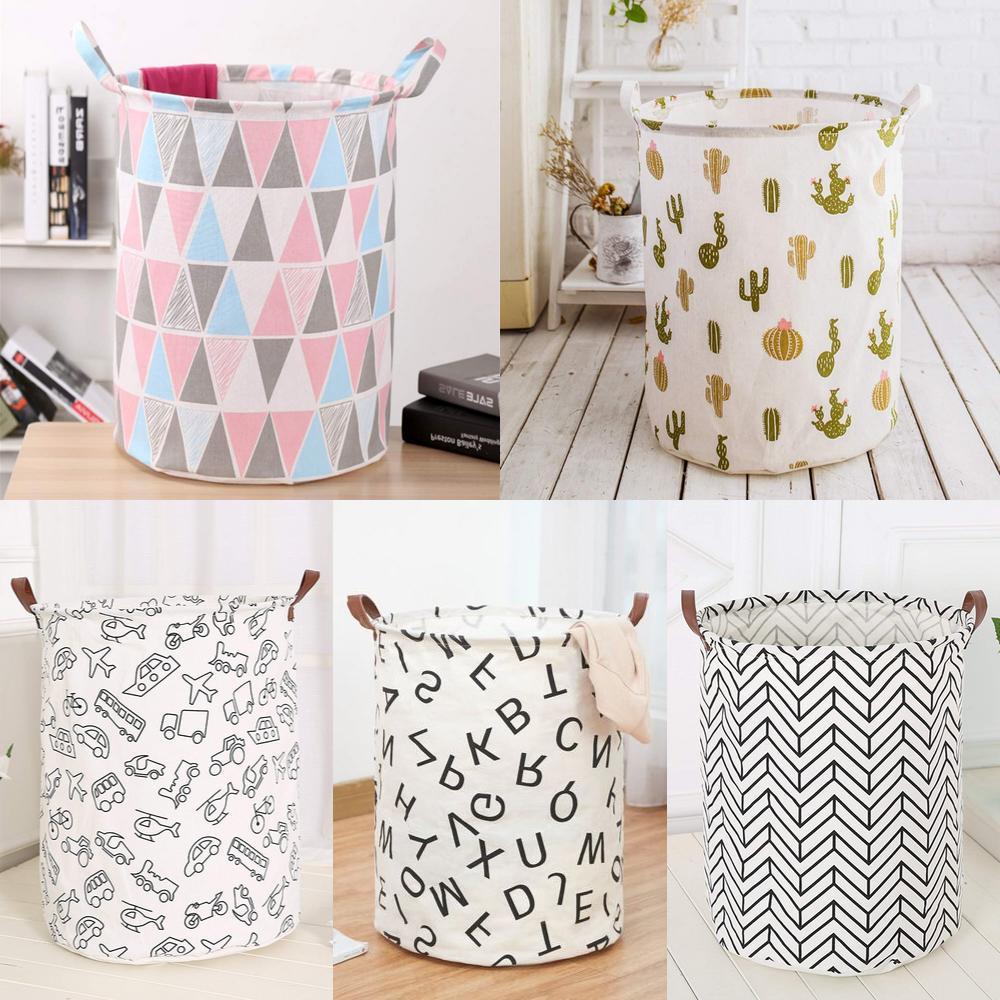 laundry basket bag foldable cotton linen washing
