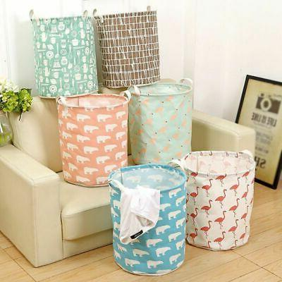 Foldable Laundry Hamper Clothes Basket Cotton Waterproof Was