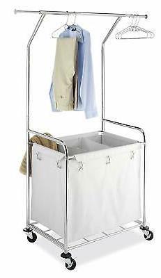 Laundry Center Cart Rolling 3 Bag Sorter Hamper Removable Ha