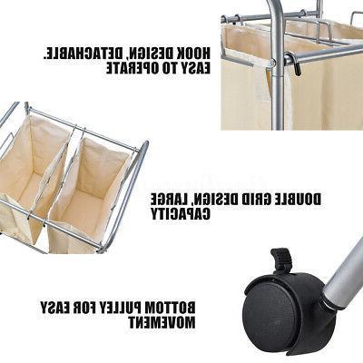 Laundry Hamper 2 Basket Bag Sort Trolley Roller Storage