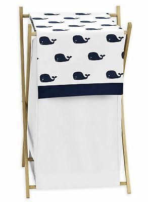 Sweet Jojo Designs Clothes Laundry Hamper For Blue Whale Boy