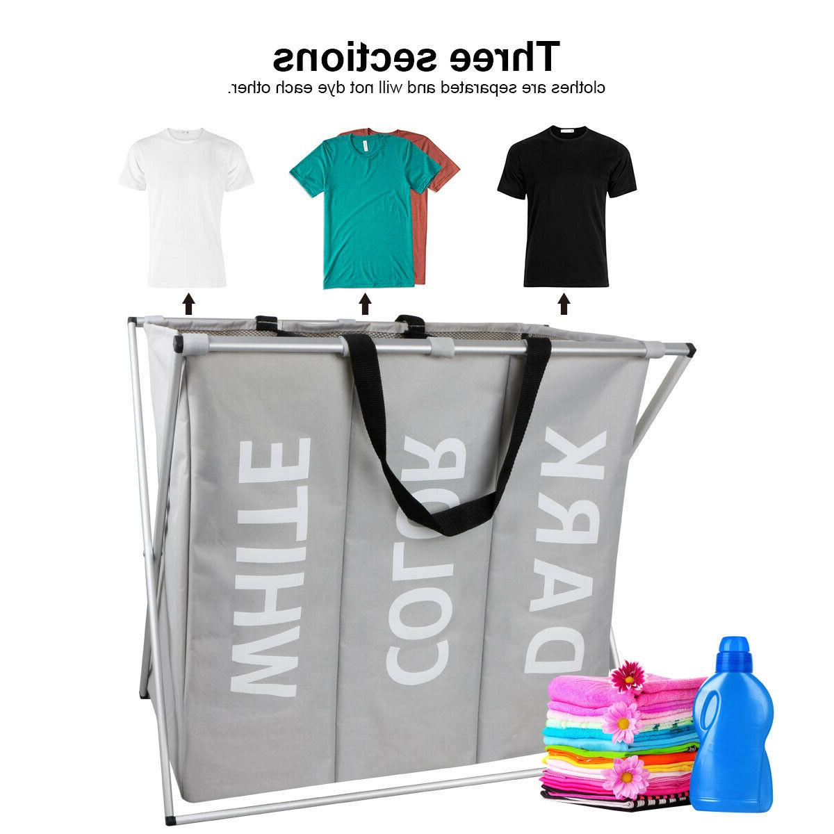 3 Sections Laundry Basket Bag Washing Clothes