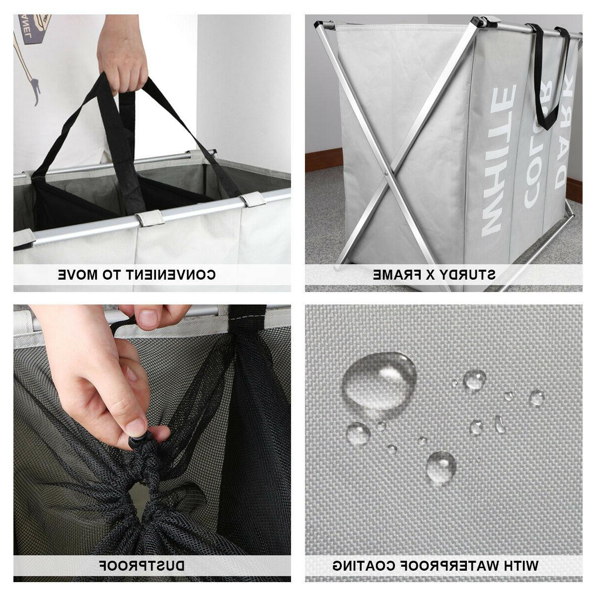 3 Sections Foldable Laundry Bag Washing Clothes