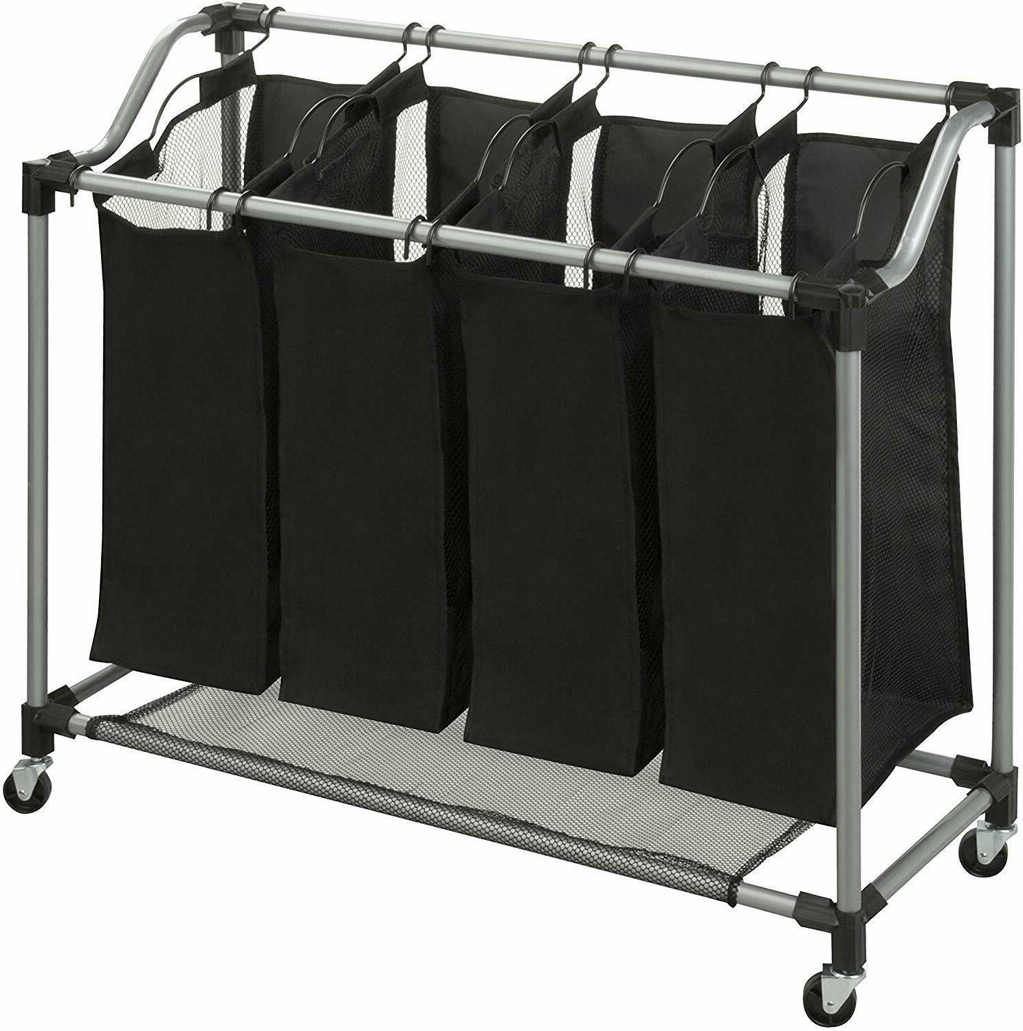 Laundry 4 Section Cart Bags Washing Clothes