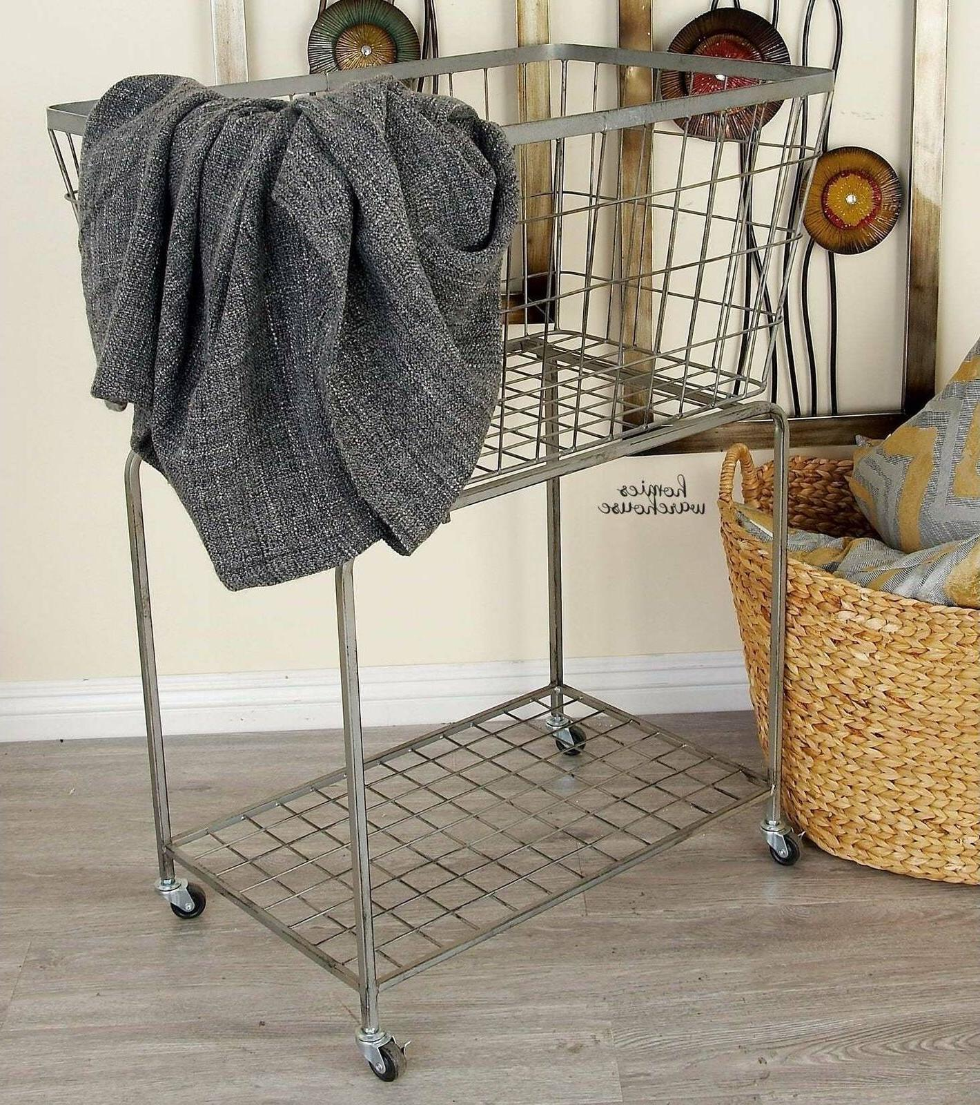 Metal Wire Rolling Laundry Basket Large Storage Clothes Line