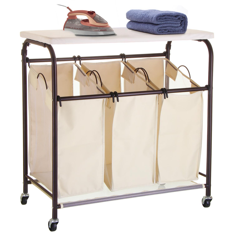 Mllieroo Mobile 3-Bag Heavy-Duty Laundry Hamper Sorter Cart/