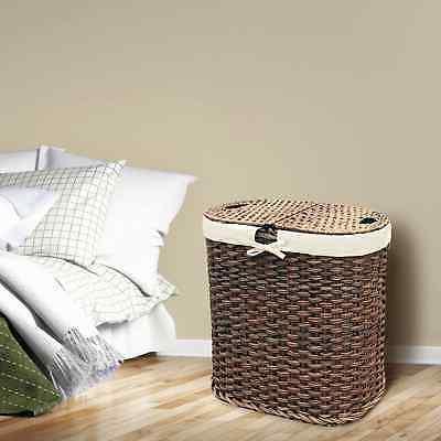 Mocha Hand-Woven Oval Laundry Hamper Brown